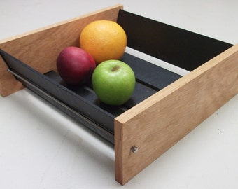 Fruit Bowl (Large, 3 Sizes Available) - A Contemporary Hand Made Design Combining Oak and Slate