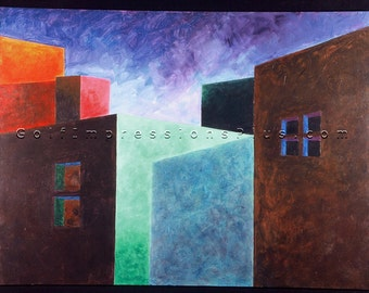 "Colorful Abstract Painting. Abstract Print. Wall Decor. Los Cabos, Mexico - ""Adobe Shadows"""