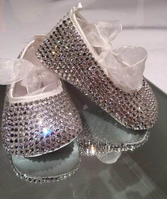 Swarovski baby shoes diamanté ballets crystal shoes