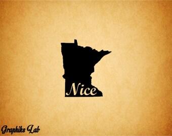Minnesota Decal MN Nice MN Logo Vinyl Decal Sticker