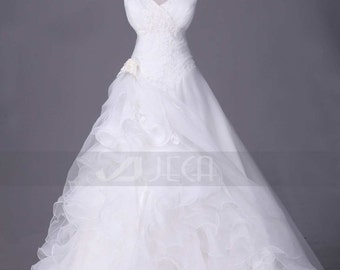 V-Neckline Chic Organza Wedding Gown Available in Plus Sizes W881