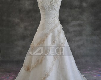 A-line Halter Neckline Wedding Gown Available in Plus Sizes WA153
