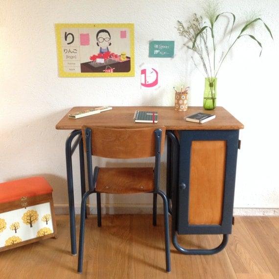 bureau maitre d cole chaise d 39 colier ann es 50. Black Bedroom Furniture Sets. Home Design Ideas