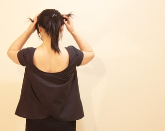 Cute Easy Top Sewing Pattern; Tank top / Top with Short Sleeves; Low neck line; Unique Flip Open Back; Cotton, Linen. Lotus Top by ULOOOP
