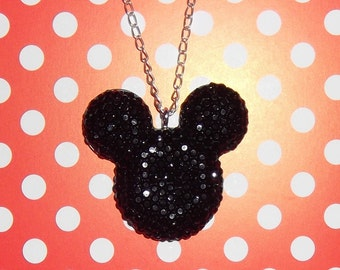 Black Mickey Mouse head necklace