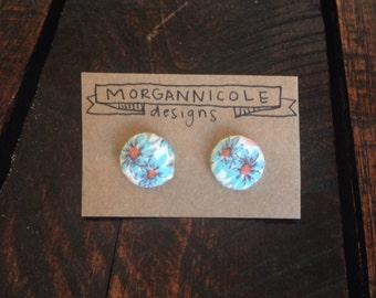 Fabric Button Earrings- blue vintage flower