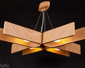 Hanging lamp with natural wood texture, made of bent plywood (33x33 inches), chandelier,  modern, wood