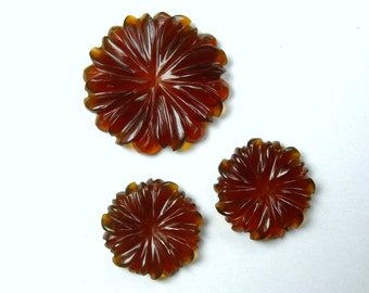 26.2 CTS Red Onyx Hand Carved flower by Unique Indian Carving Perfect 3 Pieces Set For Making Earrings & Pendant