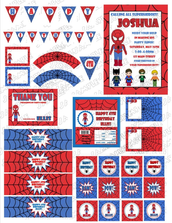 Items Similar To Superhero Spiderman Birthday Printable Party - Spiderman birthday invitation maker free
