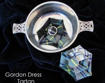 Gordon Dress Tartan Brooch, Clan Gordon Dress Tartan Brooch, Green, Blue, White and Yellow