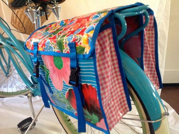 gemischte floral wachstuch fahrrad satteltaschen. Black Bedroom Furniture Sets. Home Design Ideas