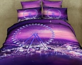 Bedding Romantic ferris wheel purple bed sheets and duvet cover with pillowcases 4pcs bedding set 100 cotton bed Linen bedclothes sets