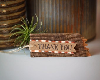 25 Barn Board Tags with Personalized Message
