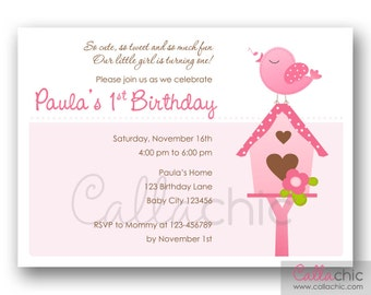 Bird 1st Birthday Invitation PRINTABLE - Girl 1st Birthday Party / Baby Shower Invitation - Pink with Bird House