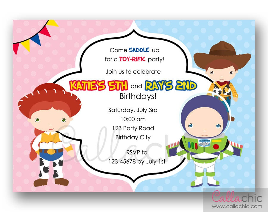 Toy Story Invitation PRINTABLE Twin / Joint / Split Birthday