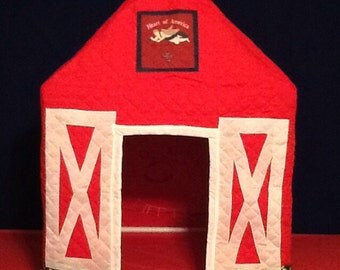 Barn playhouse that can be used over a card table or a PVC frame kit available