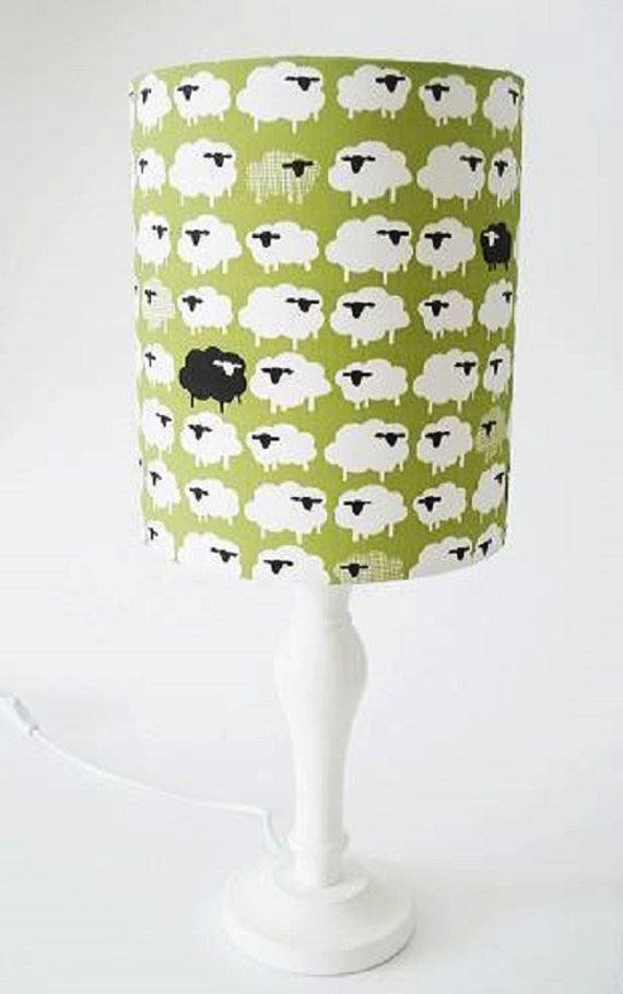 Organic cotton sheep print fabric lampshade for bedside and ceiling lights