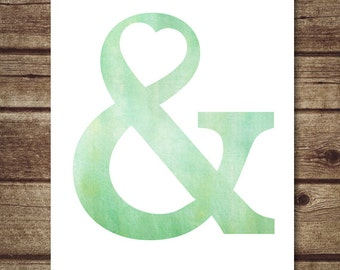 Ampersand wall art - Mint green Ampersand Poster - Modern Typography Printable, Mint green nursery decor - INSTANT DOWNLOAD