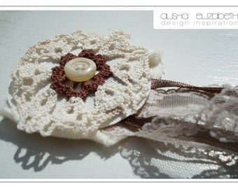 Gorgeous Shabby Chic Medallion Style Lace Brooch