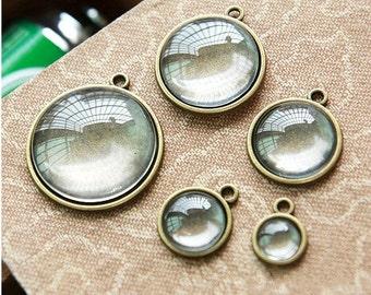 Wholesale 100pcs Antique Silver tone/Antique Bronze Pendant Charm/Finding,fit 12mm Cabochon/Cameo/Picture,Round Base Setting Tray Bezel