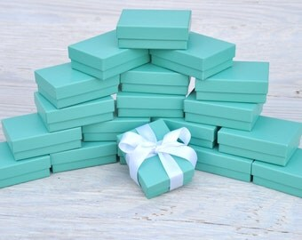 20 Turquoise 3.25x2.25x1 Matte Gift Jewelry Boxes with Cotton Fill