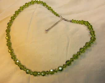 30s Green Crystal Necklace