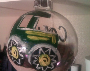 Handpainted Christmas Ornament - Tractor