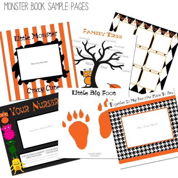 Modern Monster Black and Orange Baby Memory and Keepsake Book