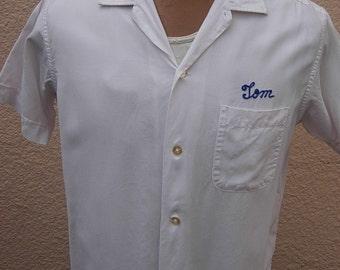 Size L (45) ** Great 1965  Nat Nast Rayon White Bowling Shirt