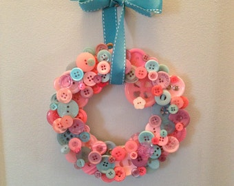 Girly Pink Button Wreath