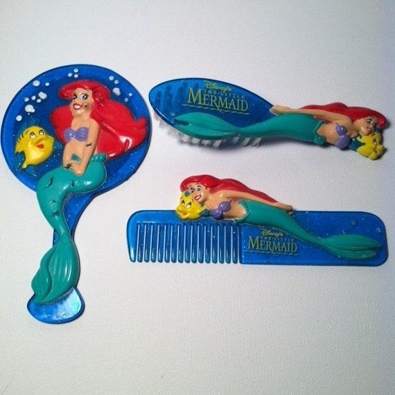 Vintage Disney Little Mermaid Ariel 3 Piece Sparkling Vanity