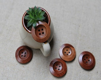 20 Pieces Round Brown Wood Buttons - 28mm - 4 Hole Brown Colored Wooden Button