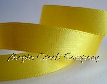 "5 yards of Yellow Satin Single Face Ribbon, 2 Widths Available: 5/8"" or 3/8"""