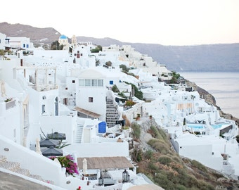 Oia Santorini Greece, Santorini White Buildings, Santorini Greece Photo, Greece Travel Photography, 8x10 Photo, Art Decor