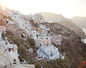 Oia Santorini Greece Europe Sea Sunset Landscape Photo Photography Art Decor 8x10 Print