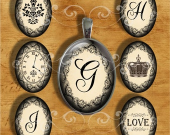 French Lace - Large Oval - 30 x 40 mm - Initials and Images - Digital Collage Sheet for Pendants, Magnets, Paper Crafts