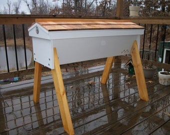 "Top Bar Hive 30 bars 48"" long Beehive Cedar Hinged Roof Beehive w/observation window 2 colors"