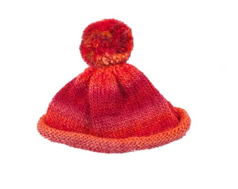 red hand made hat organic wool & acrylic perfect for 2 years old baby girl or boy