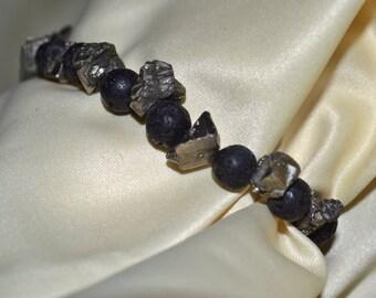 Mens or ladies lava bead / pyrite chip bracelet