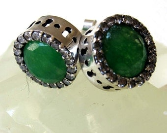 Emerald  with clear zircons sterling silver  Turkish stud earrings.