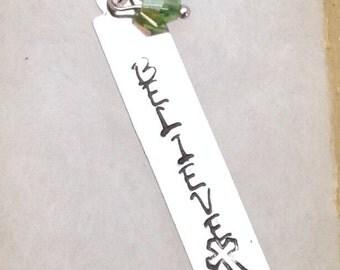 Believe Hand Stamped Pendant
