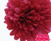 1 x 35cms (14 inches) GARNET Tissue Paper POM POM / Pompom / Birthday Party Decoration Ideas and Supplies / Wedding / Baby Shower