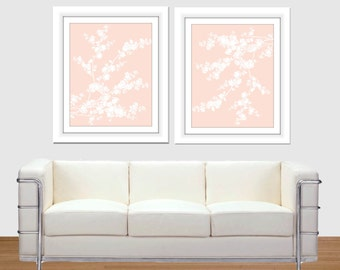Modern Cherry Blossom, Cherry Blossom set of two, Floral print, Nursery Wall Art, Pink and White, 8x10, 16x20 poster, printable art, home