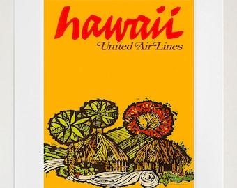 Hawaii Retro Poster Hawaiian Decor Art Travel Poster Wall Art Print (ZT631)