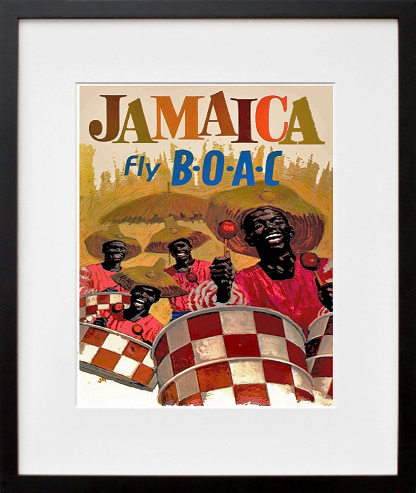 Jamaica travel poster jamaican art print home decor zt396 for Home decor jamaica