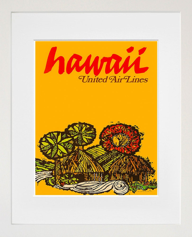 Hawaii retro poster hawaiian decor art travel poster wall art for Retro wall art