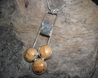 Sterling silver set of 3 Jasper pendant landscape