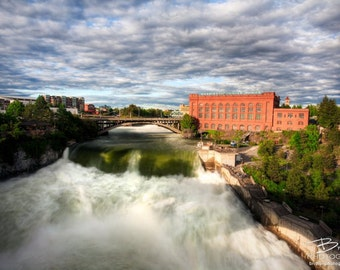 Spokane Falls, Nature Photography Print, Landscape Photo, Nature Wall Art, Green and Blue, Spring Photograph, Outdoor Picture