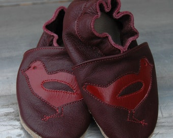 Wee·Kicks · Burgundy & Red Birds · Handcrafted Leather Footwear · Soft Sole Baby and Toddler Shoes ·