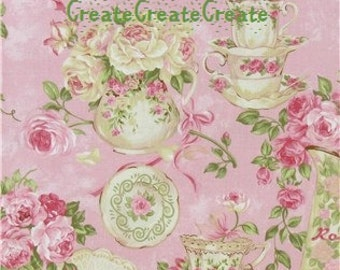Spring Like ROSE GARDEN Tea for Two with Teacups Plates Pink Roses Roses Rose by Northcott BTY